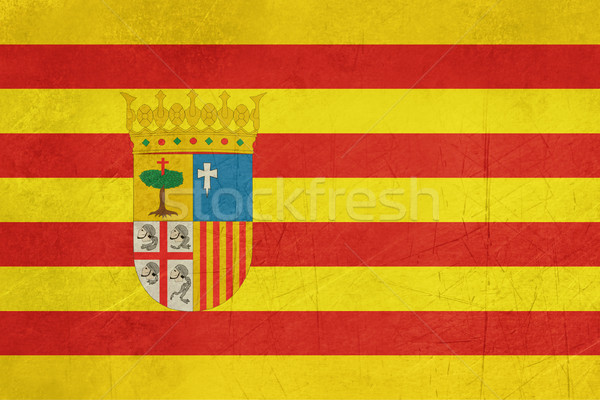 Grunge Aragon State or Province Spain flag Stock photo © speedfighter