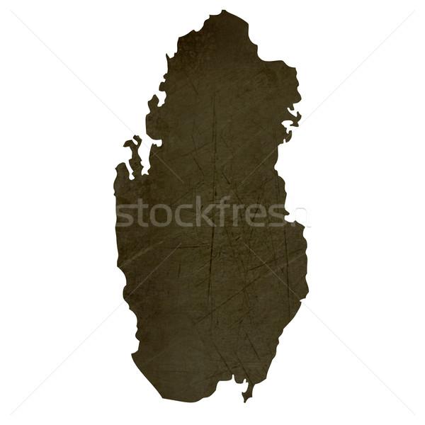Dark silhouetted map of Qatar Stock photo © speedfighter