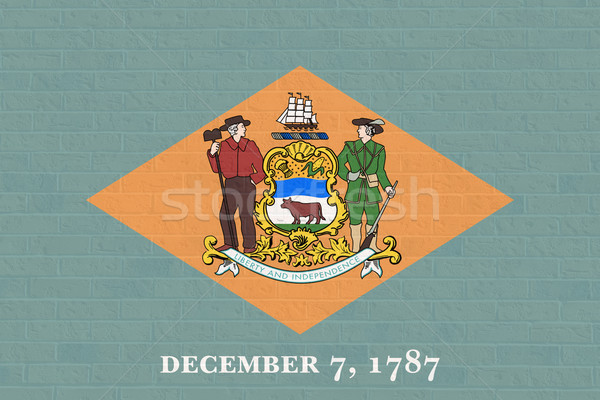 Delaware state flag on brick wall Stock photo © speedfighter
