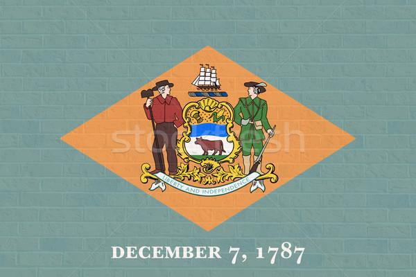 Delaware bayrak tuğla duvar Amerika yalıtılmış beyaz Stok fotoğraf © speedfighter