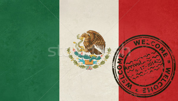 Bem-vindo México bandeira passaporte carimbo viajar Foto stock © speedfighter