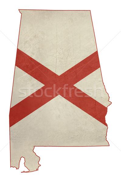 Гранж Алабама флаг карта изолированный белый Сток-фото © speedfighter