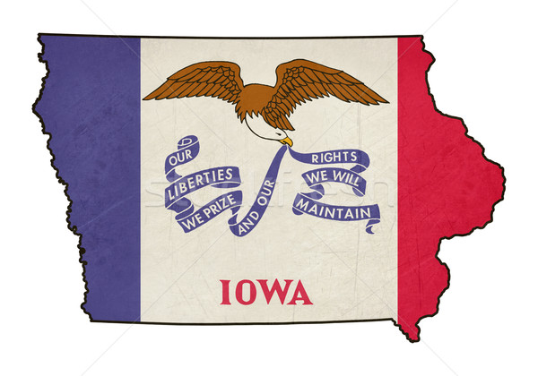 State of Iowa grunge flag map Stock photo © speedfighter