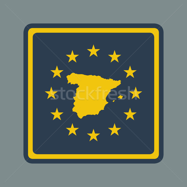 Spanyolország európai zászló gomb reszponzív web design Stock fotó © speedfighter