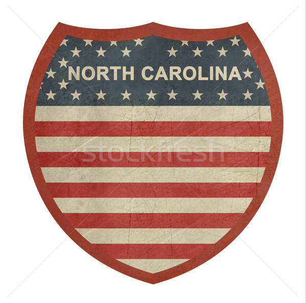 Grunge Észak-Karolina amerikai államközi autópálya tábla izolált Stock fotó © speedfighter