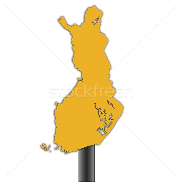 Финляндия карта дорожный знак изолированный белый дороги Сток-фото © speedfighter
