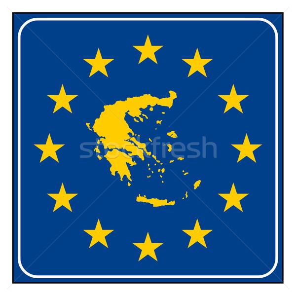 Grecia pulsante greco mappa blu Foto d'archivio © speedfighter
