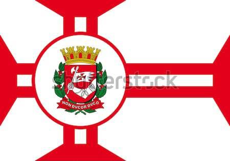Sao Paulo város zászló illusztráció Brazília kereszt Stock fotó © speedfighter