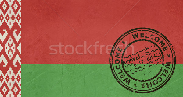 Welcome to Belarus flag with passport stamp Stock photo © speedfighter