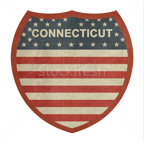 Grunge Connecticut amerikan eyaletler arası otoyol işareti yalıtılmış Stok fotoğraf © speedfighter