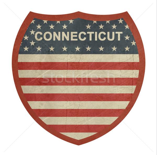 Grunge Connecticut americano interestadual sinal da estrada isolado Foto stock © speedfighter