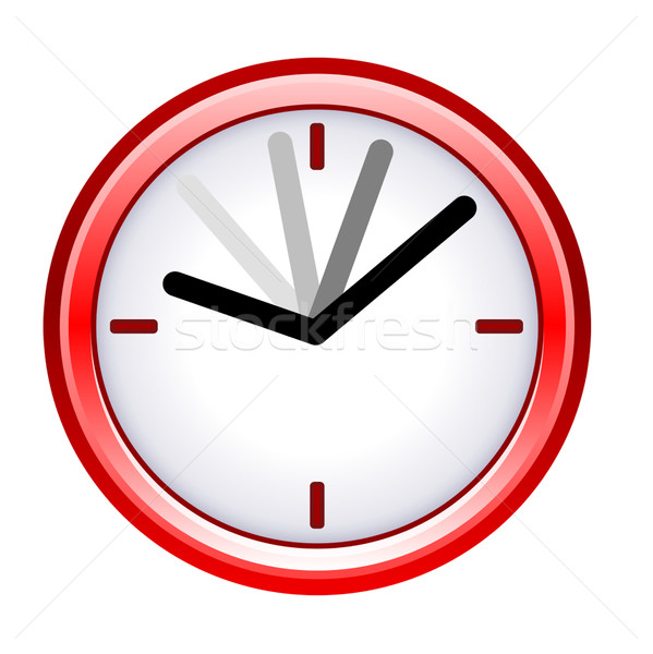 Time ticking by on red clock; isolated on white background. Stock photo © speedfighter