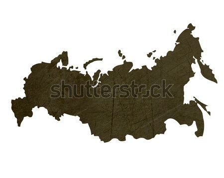Dark silhouetted map of Russian Federation Stock photo © speedfighter