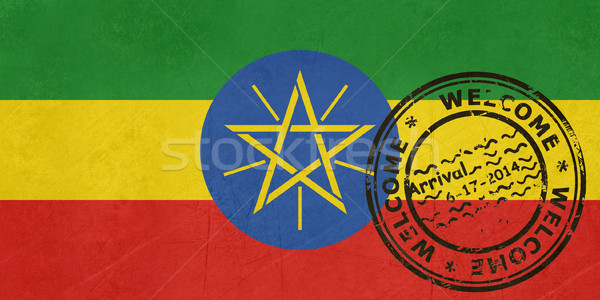 Welcome to Ethiopia flag with passport stamp Stock photo © speedfighter