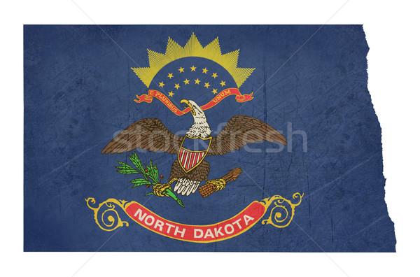 Grunge Kuzey Dakota bayrak harita yalıtılmış beyaz Stok fotoğraf © speedfighter