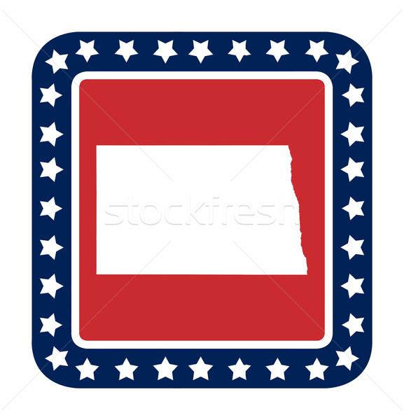 Kuzey Dakota düğme amerikan bayrağı web tasarım stil yalıtılmış Stok fotoğraf © speedfighter