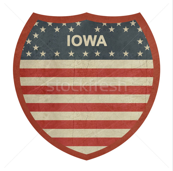 Grunge Iowa zwischenstaatlichen Autobahn Zeichen isoliert Stock foto © speedfighter
