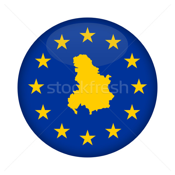 Serbia and Montenegro map European Union flag button Stock photo © speedfighter