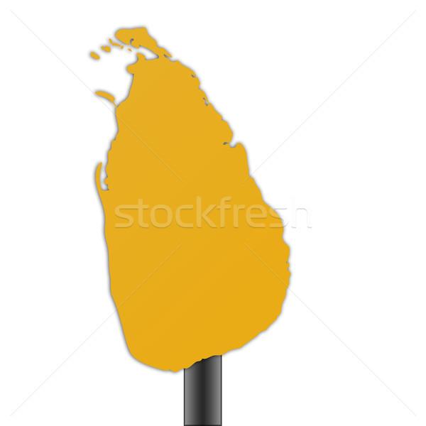 Sri Lanka kaart verkeersbord geïsoleerd witte weg Stockfoto © speedfighter