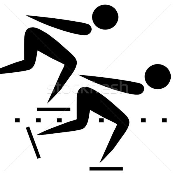 Velocidad patinaje signo negro símbolo aislado Foto stock © speedfighter