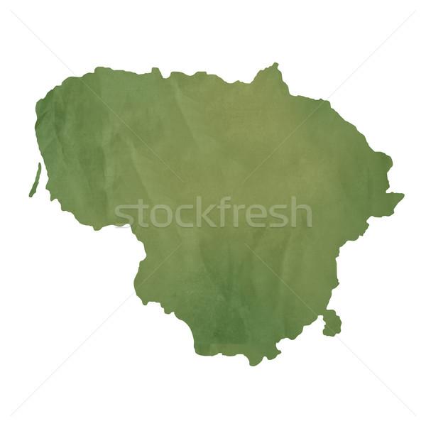 Литва карта зеленый бумаги старые изолированный Сток-фото © speedfighter
