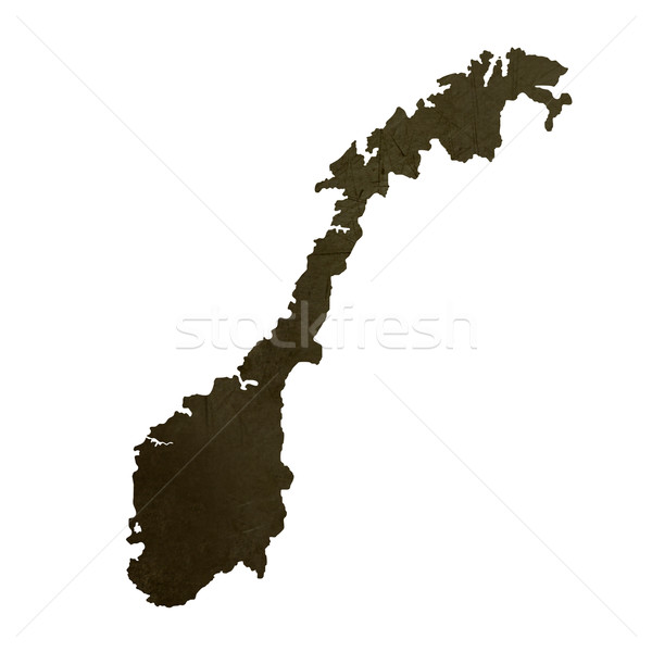 Dark silhouetted map of Norway Stock photo © speedfighter