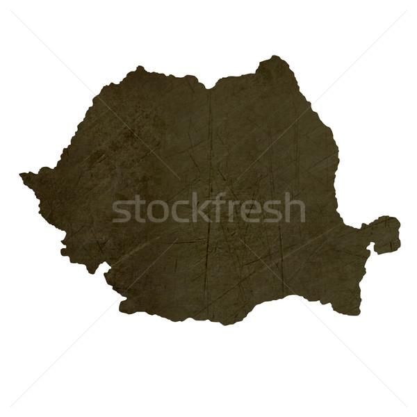 Dark silhouetted map of Romania Stock photo © speedfighter