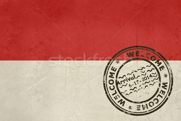 Welcome to Indonesia flag with passport stamp Stock photo © speedfighter