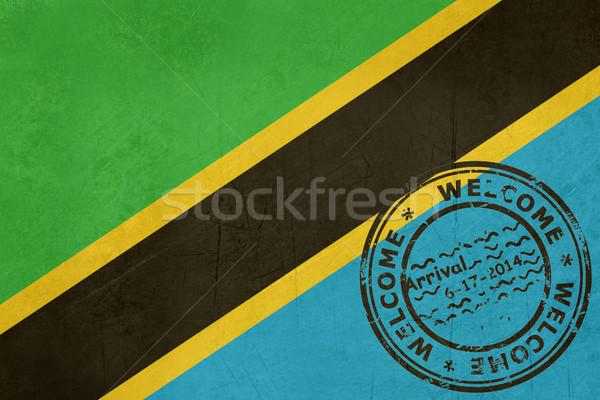 üdvözlet Tanzánia zászló útlevél bélyeg utazás Stock fotó © speedfighter
