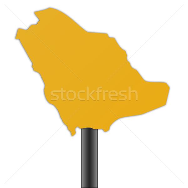 Aaudi Arabia map road sign Stock photo © speedfighter