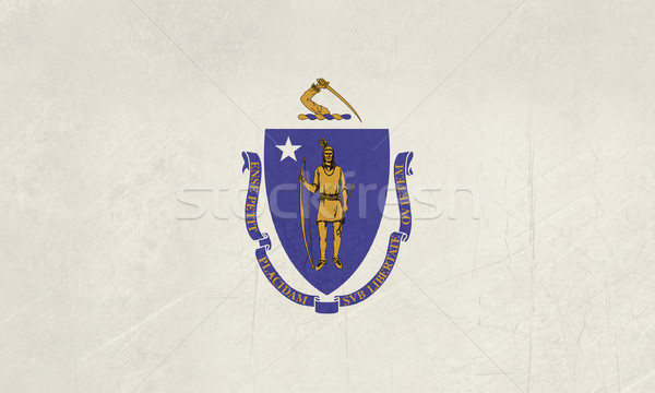 Гранж Массачусетс флаг Америки изолированный белый Сток-фото © speedfighter