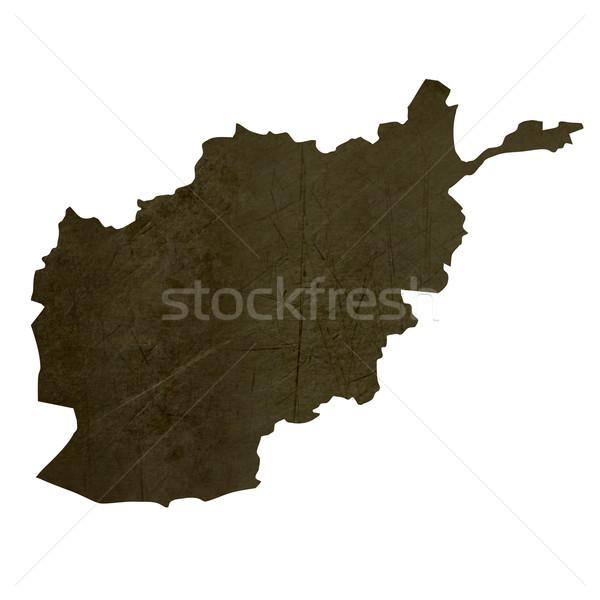 Stock fotó: Sötét · térkép · Afganisztán · mintázott · izolált · fehér