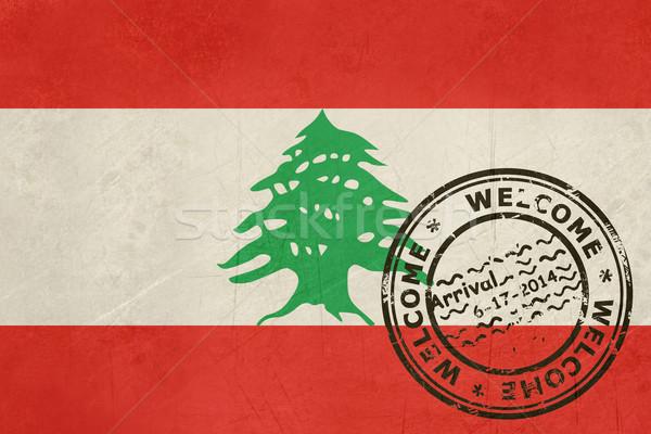 Karşılama Lübnan bayrak pasaport damga seyahat Stok fotoğraf © speedfighter