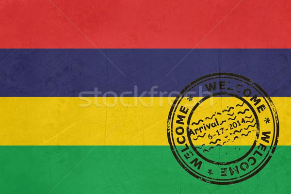 Bienvenida Mauricio bandera pasaporte sello viaje Foto stock © speedfighter