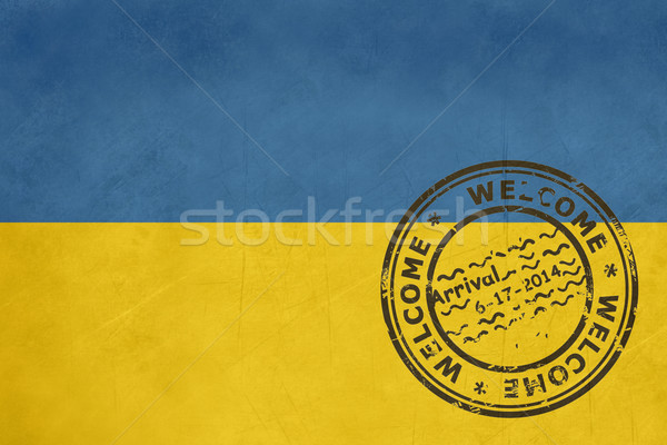 Welcome to Ukraine flag with passport stamp Stock photo © speedfighter