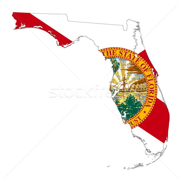 Flórida bandeira mapa isolado branco EUA Foto stock © speedfighter