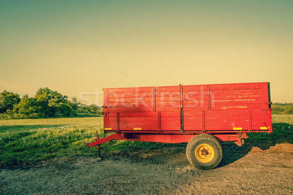 Red wagon on a countryside location Stock photo © Sportactive
