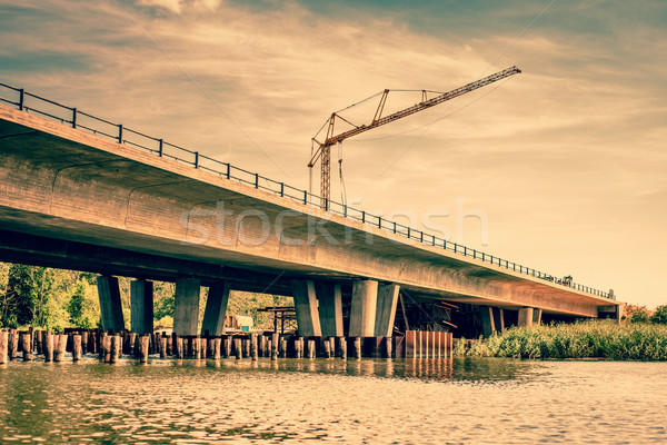 Crane at a bridge construction Stock photo © Sportactive