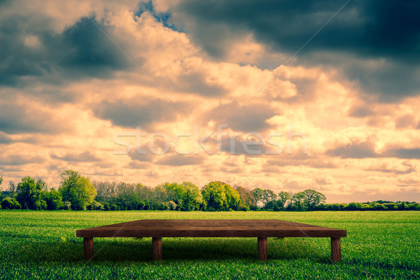 Wooden stage on a field Stock photo © Sportactive