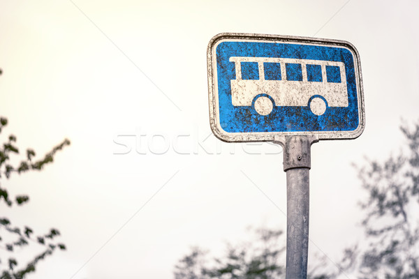 Retro bus stop sign Stock photo © Sportactive