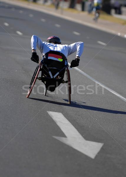 Tolószék maraton atléta tevékenység út fitnessz Stock fotó © Sportlibrary