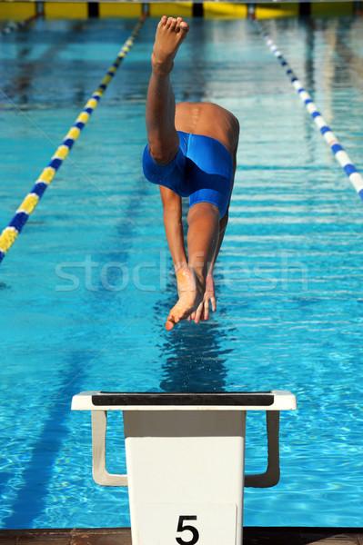 úszás kezdet hátsó nézet fiatal férfi úszó Stock fotó © Sportlibrary