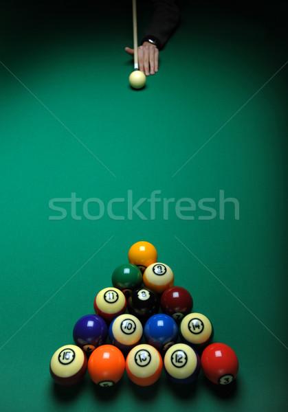 Piscina tavola verde gioco stick Foto d'archivio © Sportlibrary
