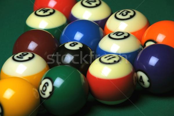 Medence golyók asztal zöld játék Stock fotó © Sportlibrary