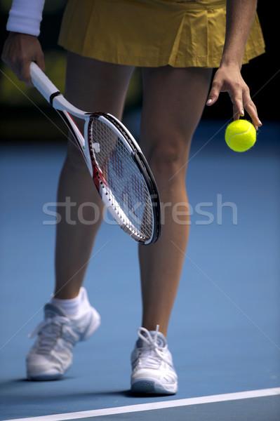 Donna palla da tennis ragazza sport palla esercizio Foto d'archivio © Sportlibrary