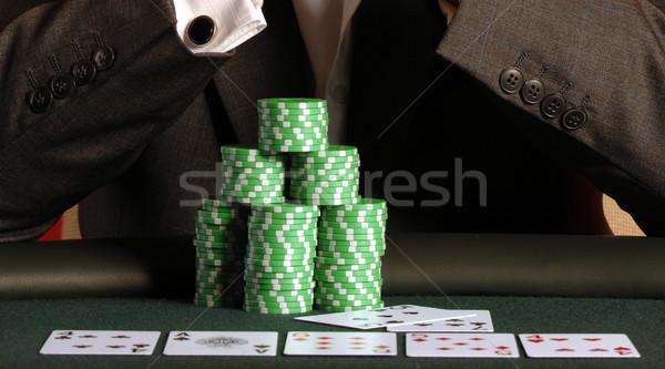Póker játékos tele ház sültkrumpli asztal Stock fotó © Sportlibrary