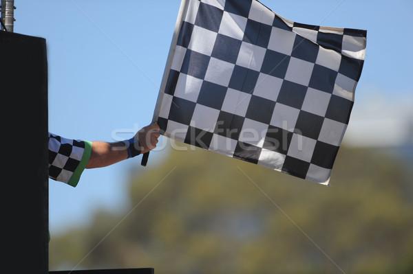 Bandiera gara bianco vincitore vincere Foto d'archivio © Sportlibrary