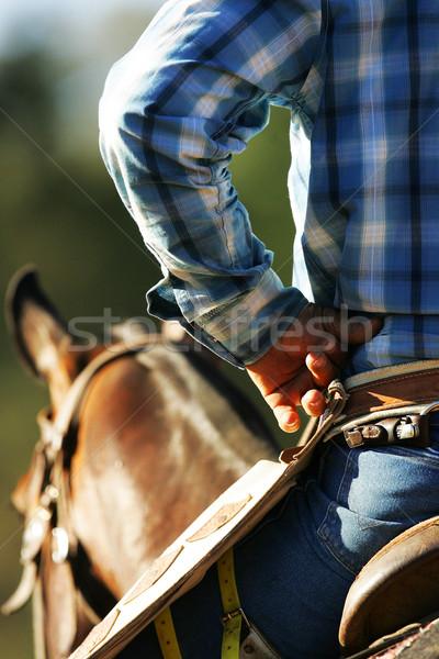 Cowboy vár tevékenység ül ló kezek Stock fotó © Sportlibrary