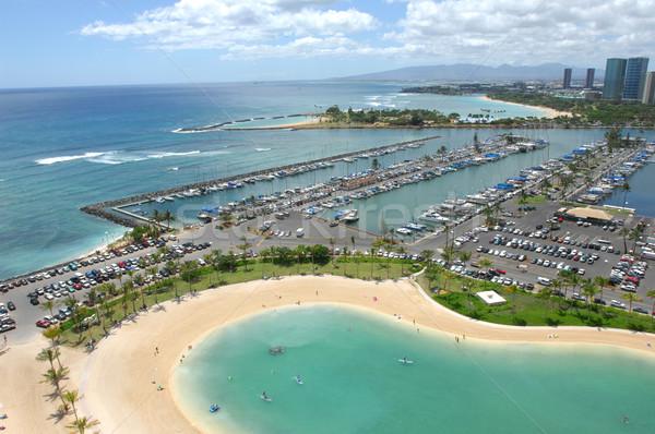 Néz ki marina Waikiki tengerpart Hawaii Stock fotó © Sportlibrary