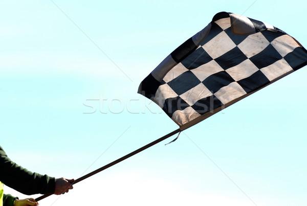 Bitirmek bayrak tamamlama yarış mavi Stok fotoğraf © Sportlibrary